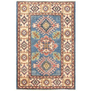 Handmade Herat Oriental Afghan Vegetable Dye Kazak Wool Rug - 2'7 x 3'11 (Afghanistan)