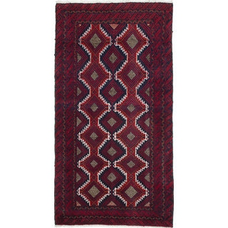 Ecarpetgallery Hand-Knotted Finest Baluch Red Wool Rug (2'8 x 5'1)