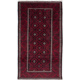 Ecarpetgallery Hand-Knotted Finest Baluch Black, Red Wool Rug (3'11 x 7')