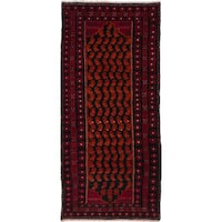 Ecarpetgallery Hand-Knotted Finest Baluch Black, Red Wool Rug (2'9 x 6'4)