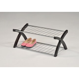 K and B Furniture Co. Inc. Black Wood and Silver Metal Two-tier Shoe Rack