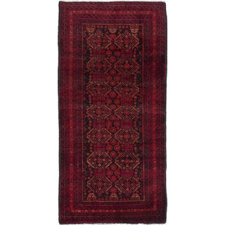 Ecarpetgallery Hand-Knotted Finest Baluch Black, Red Wool Rug (3'4 x 7')