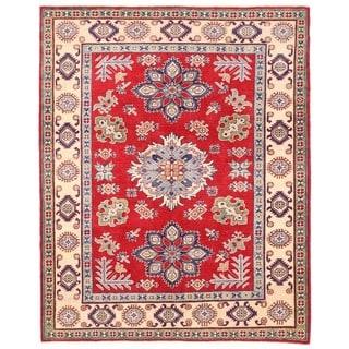 Herat Oriental Afghan Hand-knotted Vegetable Dye Kazak Wool Rug (5'1 x 6'4)