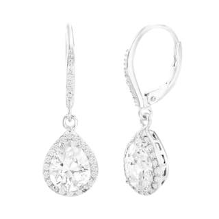 Sterling Silver Cubic Zirconia Dangling 4Prong Teardrop Halo Earring|https://ak1.ostkcdn.com/images/products/15001743/P21500821.jpg?impolicy=medium