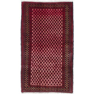 Ecarpetgallery Hand-Knotted Finest Baluch Black, Red Wool Rug (3'1 x 5'5)