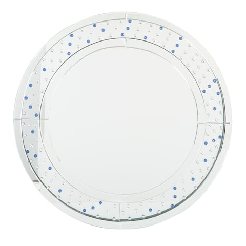 OSP Home Furnishings Decorative Silver Frame Round Wall Mirror - A/N