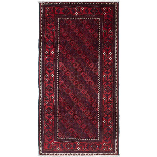 Ecarpetgallery Hand-Knotted Finest Baluch Brown, Red Wool Rug (3'5 x 6'6)