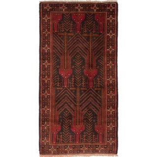 Ecarpetgallery Hand-Knotted Finest Baluch Black, Red Wool Rug (3'11 x 7'8)