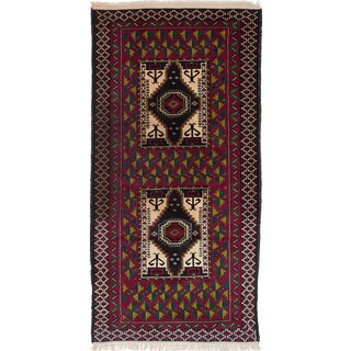 Ecarpetgallery Hand-Knotted Finest Baluch Black, Red Wool Rug (3'11 x 7'2)
