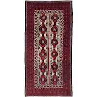 Ecarpetgallery Hand-Knotted Finest Baluch Red Wool Rug (2'11 x 5'10)