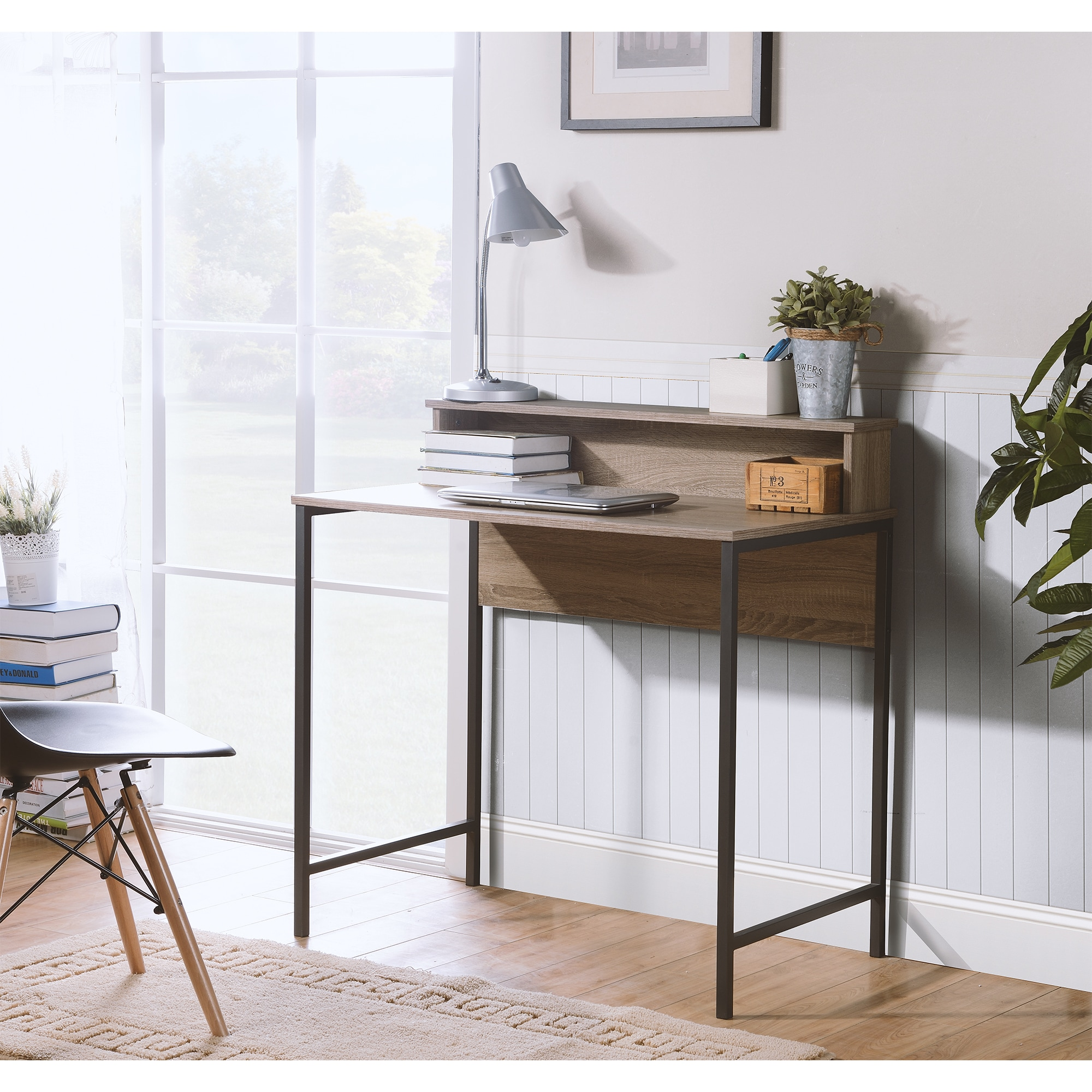 Titania Particle Board and Powder-coated Metal Reclaimed Wood Finish  Computer Desk With Built-in Hutch