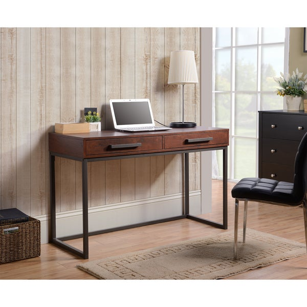 Horatio Brown 2 Drawer Computer Desk With Metal Base