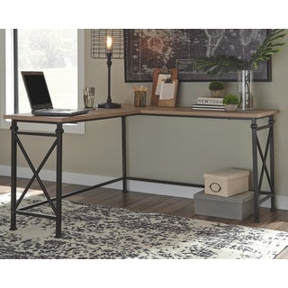 Banquo Brown Wood and Metal Corner Desk