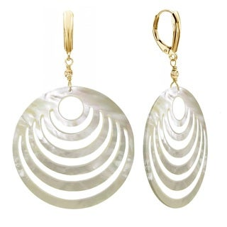 DaVonna 14k Yellow Gold 50mm Mother of Cultured Pearl with Sparkling Bead Lever-back Earrings