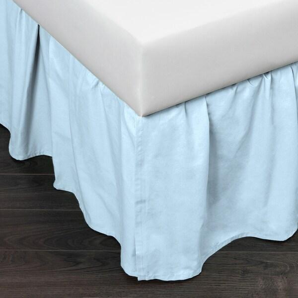 Brighton Sky Blue Cotton 24-inch Drop Bed Skirt