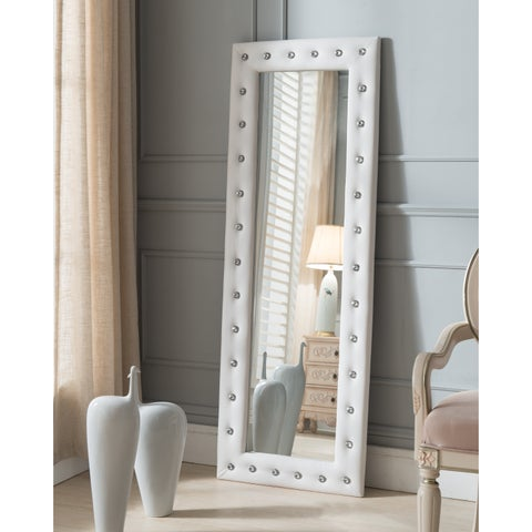 Silver Orchid Heston Tufted Leather Floor Mirror