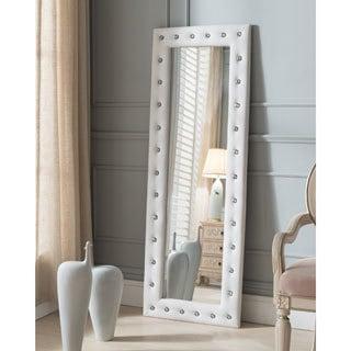 floor mirror. Silver Orchid Heston Tufted Leather Floor Mirror N