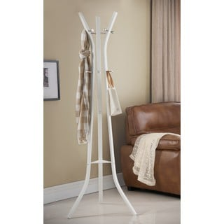K and B Furniture White Metal 9-hook Coat and Hat Stand