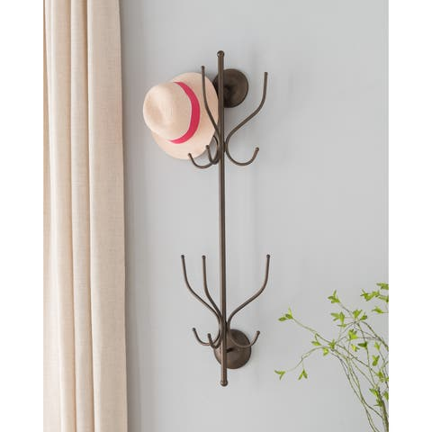 K and B Furniture Co. Inc. Pewter Metal 12-hook Wall-mounted Hat and Coat Rack