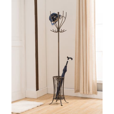 K and B Furniture Pewter Metal 12-hook Hat and Coat Rack
