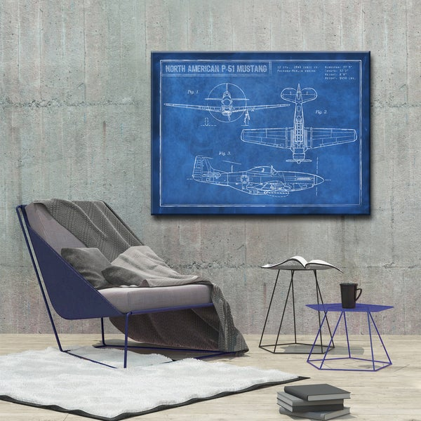 Shop ready2hangart canvas art american p 51 blueprint by dorothea standard return policy malvernweather Choice Image