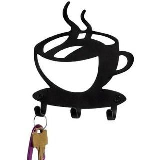 Black Coffee Time 3-Hook Key Rack
