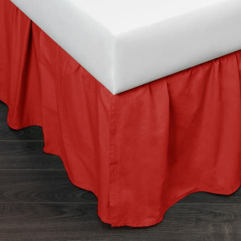 Brighton Red Cotton 24-inch Drop 3 Piece Tuck in Bed Skirt