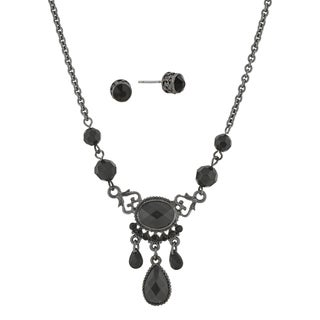 1928 Jewelry Black Tone Black Briolette Teardrop Earring and Necklace Set
