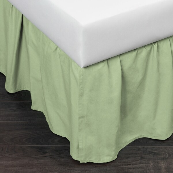 Brighton Light Green Cotton Bed Skirt