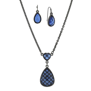 1928 Jewelry Black-Tone Blue Pearshape Earrings and Necklace Set