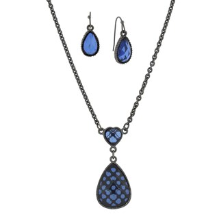 1928 Jewelry Black Tone Blue Pearshape Earrings and Necklace Set