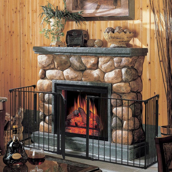 "Steel & Plastic Fireplace Black Safety Fence Guard Fence (25"" x 30"")"