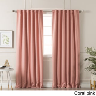 Aurora Home Solid Insulated Thermal Blackout Curtain Panel Pair (63L / Coral Pink)