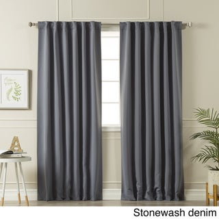 Aurora Home Solid Insulated Thermal Blackout Curtain Panel Pair (63L / Stonewashed Denim)