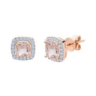 Rose Gold Plated Silver Morganite Glass and Cubic Zirconia Square Halo Post Earring