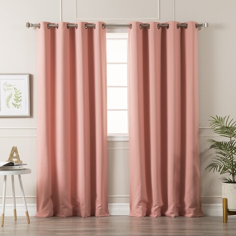 Aurora Home Antique Silver Grommet Top Thermal Insulated Blackout Curtain Panel Pair - N/A
