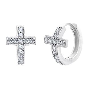 Sterling Silver Cubic Zirconia Pave Cross Earrings