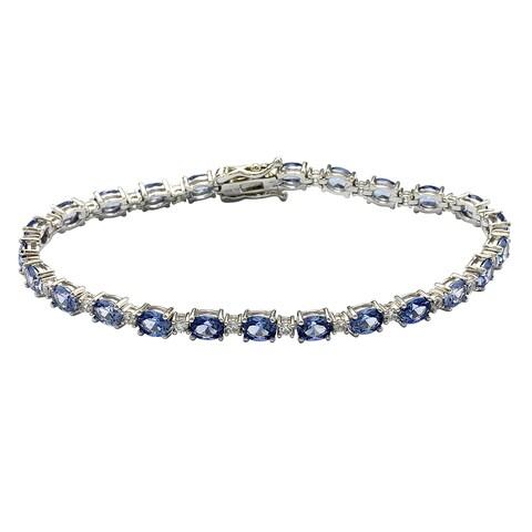 Suzy Levian Sterling Silver Oval-Cut Blue Sapphire Tennis Bracelet