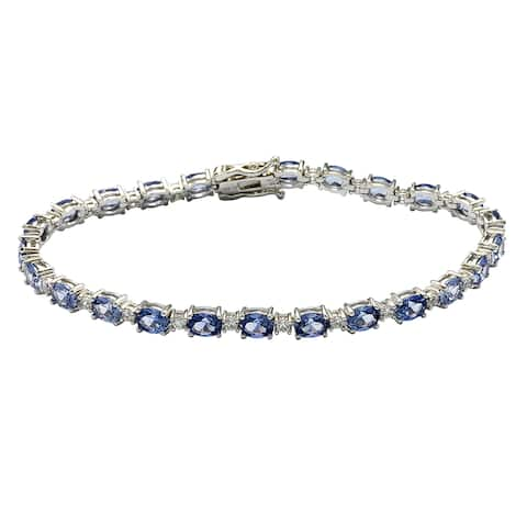 Suzy L. Sterling Silver Oval-Cut Blue Sapphire Tennis Bracelet