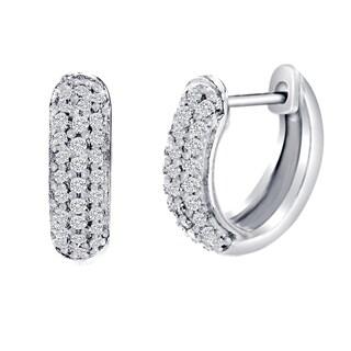 Women's Sterling Silver Cubic Zirconia Pave Hoop Earrings