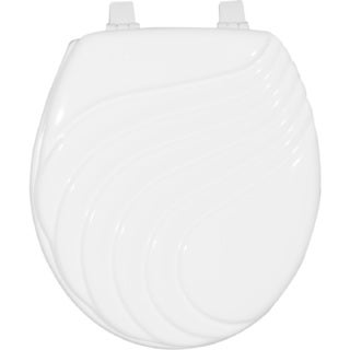 Painted Wave Design Elongated Toilet Seat