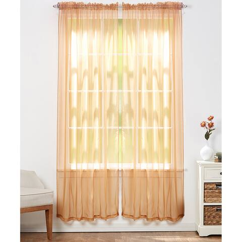 Linda Sheer Voile 4 Pack Window Curtain Panel Pairs - 55 x 84