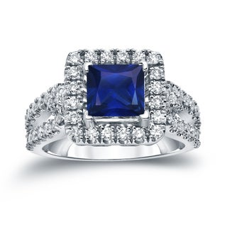 Auriya 14k Gold 1ct Blue Sapphire and 3/4ct TDW Diamond Halo Engagement Ring (H-I, SI1-SI2)
