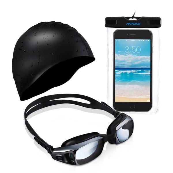 Mpow Swim Goggles, Swim Cap, and Waterproof Smartphone Case Complete Bundle Kit