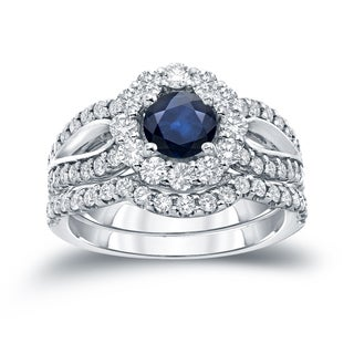 Auriya 14k Gold 1ct Blue Sapphire and 1 1/3ct TDW Diamond Halo Bridal Ring Set (H-I, SI1-SI2)