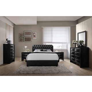 Blemerey 110 Black Bonded Leather Bed Group, King Bed, Dresser, Mirror, 2 Night Stands, Chest