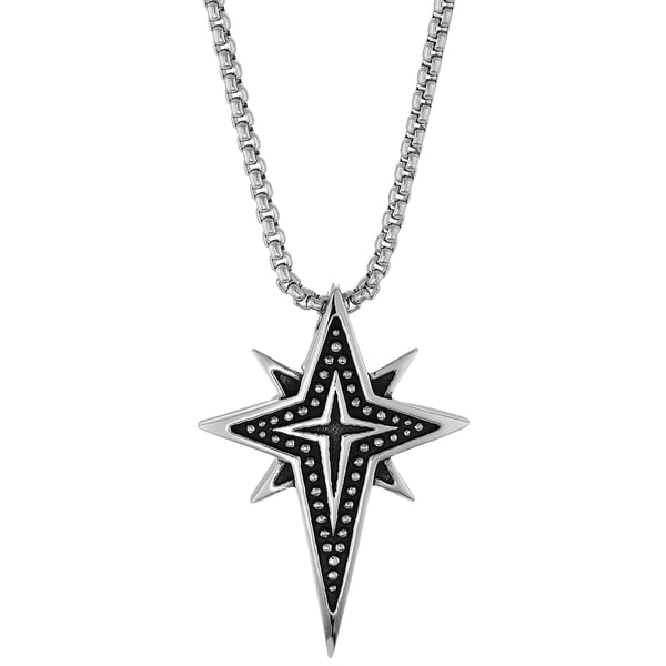 Black Ion Plated Stainless Steel Clipart Cross Star Pendant Necklace