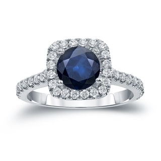Auriya 14k Gold 1ct Blue Sapphire and 2/5ct TDW Diamond Halo Engagement Ring (H-I, SI1-SI2)