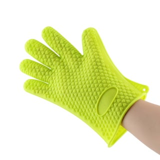Silicone Heat-resistant Grilling Glove (Option: Green)