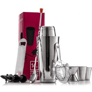 Finedine Expert Stainless Steel 14-piece Cocktail Shaker Home Bar Tool Set